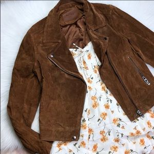 BLANK NYC LEATHER MOTO JACKET IN COGNAC M